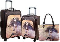 (MWL07-L001-2-6) Western Horse Art 3-Piece Wheeled Luggage Set
