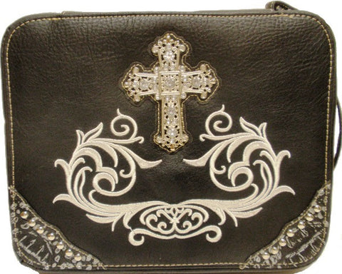 (MWMBCDC001BK) Western Cross & Scroll Bible Cover Black