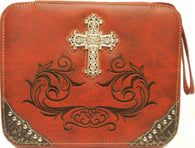 (MWMBCDC001RD) Western Cross & Scroll Bible Cover Red