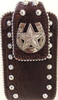 (MWMECC002SDCF) Western Cell Phone Holder with Horseshoe & Star Concho (Fits iPhone 4) - Coffee