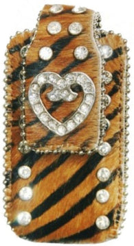 (MWRCHCC002CBKBR) Western Brown/Black Tiger Stripe Cell Phone Holder with Heart Concho (Fits iPhone 4)