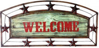 "(MWRSD065) Western Style Metal & Wooden ""WELCOME"" Sign with Metal Stars"