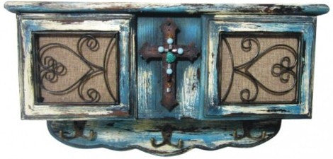 (MWRSM087) Western Cross Wooden Wall Cabinet with Hooks