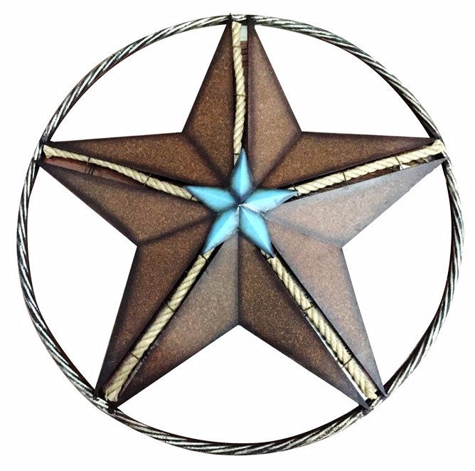 Mwrsm1700 metal turquoise star with rope wall decor for Product key decor8