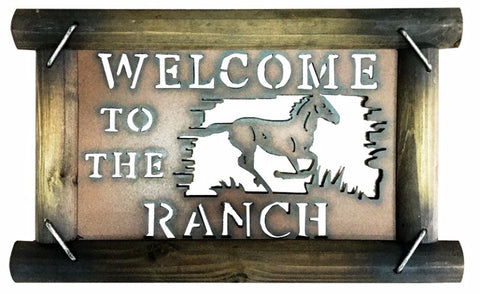 "(MWRSM1756) ""Welcome to the Ranch"" Wood & Metal Horse Sign"
