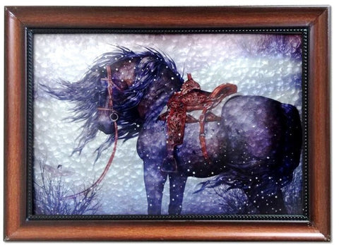 (MWRSM1948) Western Horse Metal & Wood Framed Art