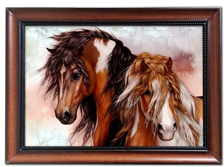 (MWRSM1952) Western Horses Wood & Metal Framed Art