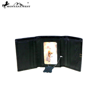 Western Tri-Fold Wallet with Longhorn Concho - 3 Colors Available!