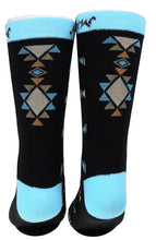 Load image into Gallery viewer, Aztec Southwestern Socks - Black/Turquoise