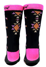 Load image into Gallery viewer, Aztec Southwestern Socks - Black/Pink