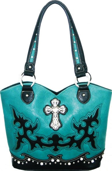 (MWSL8096) Western Faux Leather Turquoise Purse with Cross