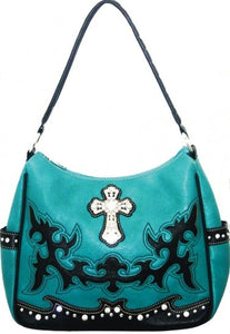 (MWSL8291) Western Turquoise Faux Leather Purse with Cross