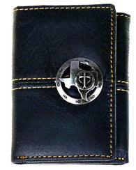 Western Tri-Fold Wallet with Texas & Cross Logo - 3 Colors Available!