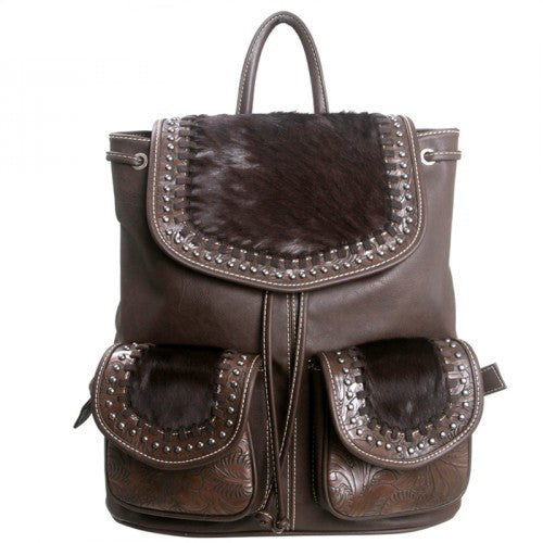 (MWTR07-9110CF) Western Leather & Cowhair Backpack Coffee