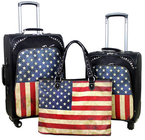 "(MWUS01-L1-2-6) ""American Flag"" Western 3-Piece Wheeled Luggage Set"
