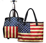 (MWUS01L4-6) Western American Flag Design 2-Piece Luggage Set