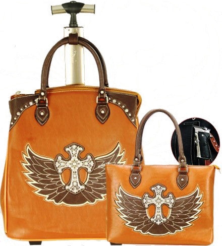 (MWWIGL004-5BN) Western Winged Cross 2-Piece Luggage Set - Brown