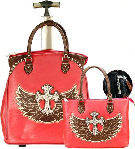 (MWWIGL004-5RD) Western Winged Cross 2-Piece Luggage Set - Red