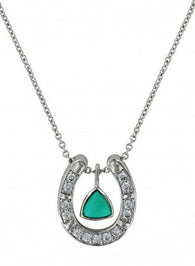 Turquoise Trillion Horseshoe Necklace