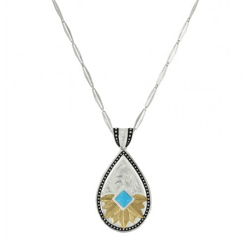 Southwestern Feathered Flower Turquoise Necklace