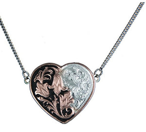 Rose Gold Filigree & Flowers Heart Necklace
