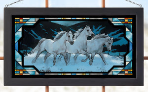 """Night Mares"" Horse Stained Glass Art"