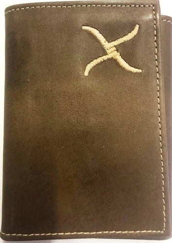 Twisted-X Western Brown Leather Tri-Fold Wallet with Gold Embroidered Logo