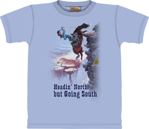 "(OLC10-2096) ""Headin' North but Going South"" Western Adult T-Shirt Medium"