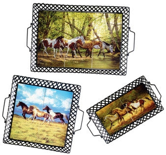 "(OLC17702) ""Running Free"" Serving Tray Set"