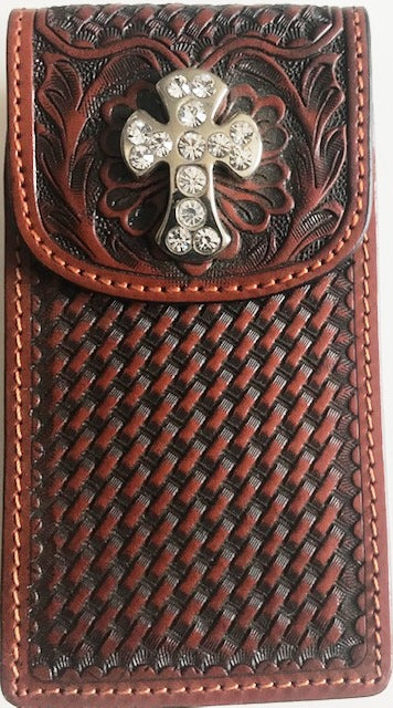 Western Tan Leather Cell Phone Holder for iPhone 4 & Blackberry with Cross Concho