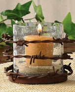 (PD21-223) Western Barbed Wire Votive Candle Holder