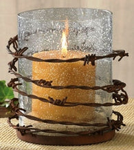 (PD21-224) Western Barbed Wire Pillar Candle Holder
