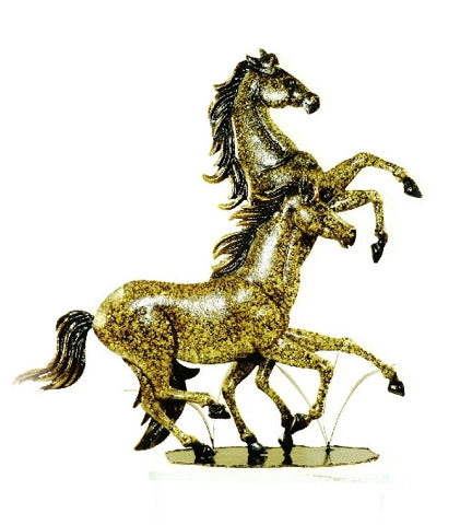 (PS3772) Western Pair of Horses Metal Sculpture