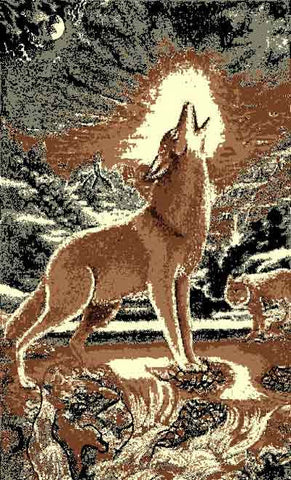 "(PW-AFHW) ""Howling Wolf"" Rustic Northwoods Area Rug"