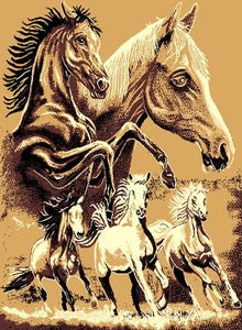 "(PW-AFHF) ""Horse Family"" Western Area Rug (5' 1-1/2"" x 6' 10"")"
