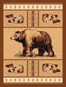 "(PW-LODGE360-2x3) ""Bear & Fish"" Rustic Area Rug - 2 x 3"