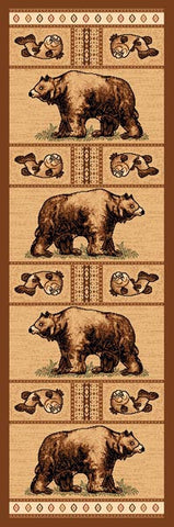 "(PW-LODGE360-2x7) ""Bear & Fish"" Cabin Rug - 2 x 7"