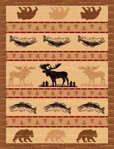"(PW-LODGE361-5x7) ""Moose, Bear & Fish"" Cabin Area Rug - 5 x 7"