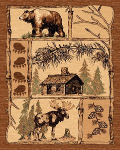"(PW-LODGE362-5x7) ""Bear, Cabin & Moose"" Area Rug - 5 x 7"