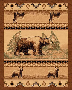"(PW-LODGE364-5x7) ""Bear"" Cabin Area Rug - 5 x 7"
