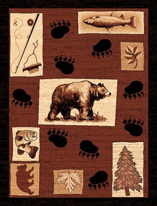 "(PW-LODGE366-2x3) ""Bear & Fish"" Rustic Northwoods Area Rug - 2 x 3"