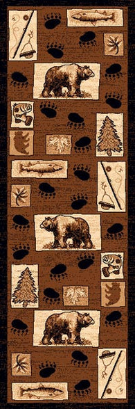 "(PW-LODGE366-2x7) ""Bear & Fish"" Cabin Rug - 2 x 7"