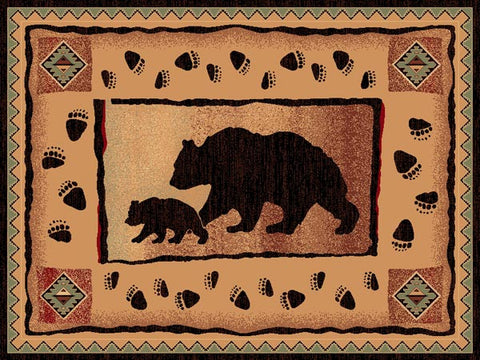 "(PW-LODGE367-2x3) ""Bear & Cub"" Rustic Northwoods Area Rug - 2 x 3"