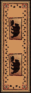 "(PW-LODGE367-2x7) ""Bear & Cub"" Cabin Runner - 2 x 7"