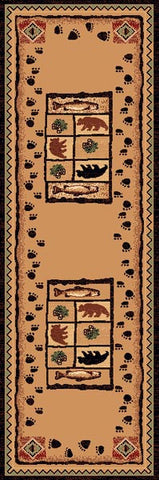 "(PW-LODGE368-2X7) ""Bear, Fish & Pinecone"" Cabin Area Runner - 2 x 7"