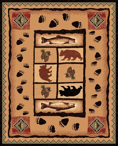 "(PW-LODGE368-4x5) ""Bear, Fish & Pinecone""  Area Rug - 4 x 5"