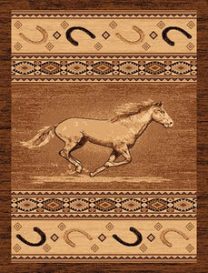 "(PW-LODGE372-4x5) ""Running Horse"" Western Area Rug - 4 x 5"