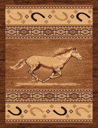 "(PW-LODGE372-5x7) ""Running Horse"" Western Area Rug - 5 x 7"