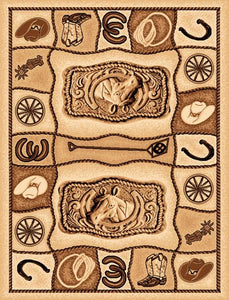 "(PW-LODGE374-2x3) ""Western Motif"" Area Rug - 2 x 3"