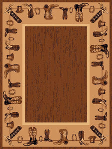 "(PW-LODGE375-2x3) ""Boots"" Western Area Rug - 2 x 3"